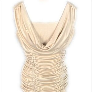 XOXO blouse Drape Metallic gold blouse bow Ruched